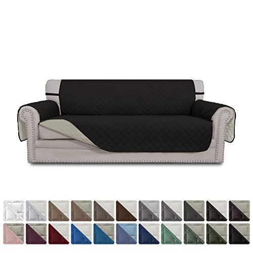 Easy-Going Sofa Covers, Slipcovers, Reversible Quilted Furniture Protector, Water Resistant, Improved Couch Shield with Elastic Straps, Anti-Slip Foams, Micro Fabric Pet Cover (Sofa, Black/Beige)
