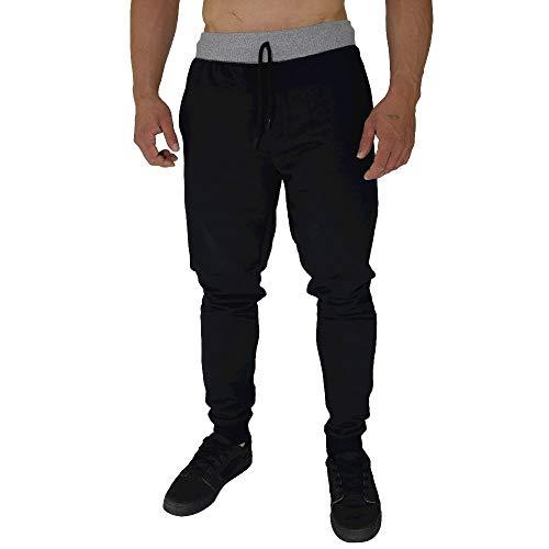 Calça Masculina Moletom Slim MXD Conceito Preto Sólido Clássico (GG)