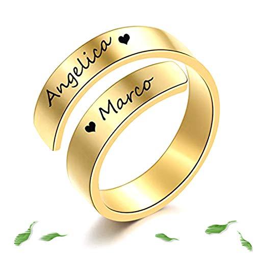 RWQIAN Anillos Mujer Personalizada 2 Nombres Anillo de Grabado en Acero Inoxidable Anillos Ajustables Hombre Aniversario Joyas Regalo 5 mm Color Oro