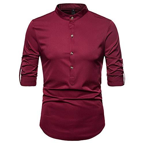Preisvergleich Produktbild qulvyushangmaobu Herrenhemden Langarm Slim Fit Casual Abendhemd Basic Plain Dress Office Langarm Plain Popeline Casual Shirt Herrenmode Langarmhemden Casual Dress Tops Slim Fit