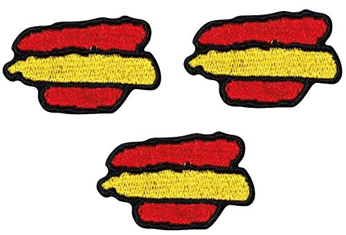 Pack de 3 Banderas de España parches autoadhesivos borde negro - termo adhesivos - para coser o planchar - parches para chaquetas, camisetas, mascarillas. …
