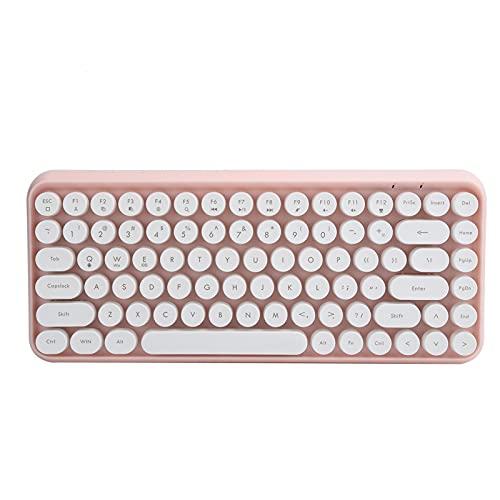 Draadloos Toetsenbord Bluetooth 84 Toetsen Retro Ronde Keycap Gaming Kantoorbenodigdheden 308I Retro Typemachine-elementen Klassiek en Trendy Elegant Kleurrijk Ontwerp(Roze)