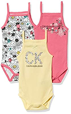Calvin Klein Baby Girls' 3 Pieces Pack Bodysuits, Pink/Yellow/Print, 3-6 Months