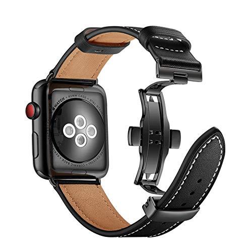 Correa de Cuero Genuina Aplicar a Apple Watch Band Pulseira Apple Watch 5 4 3 44mm / 40mm Iwatch Band 42mm 38mm Correa Wamkband Pulsera (Band Color : Orange, Band Width : 42mm 44mm)