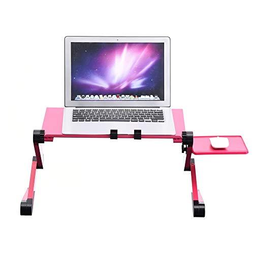 AYNEFY Bandeja de escritorio para ordenador portátil, bandeja de cama portátil, bandeja de cama de 360°, ajustable, plegable, soporte de mesa con enfriamiento, doble ventilador, ratón (rosa rojo)