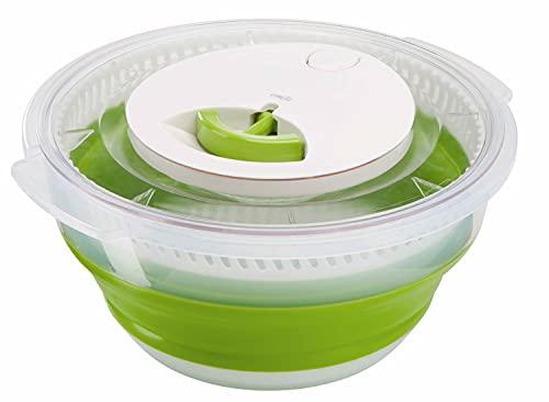 Emsa Basic Faltbare Salatschleuder, kunstoff, transparent/grün, 4 Liter