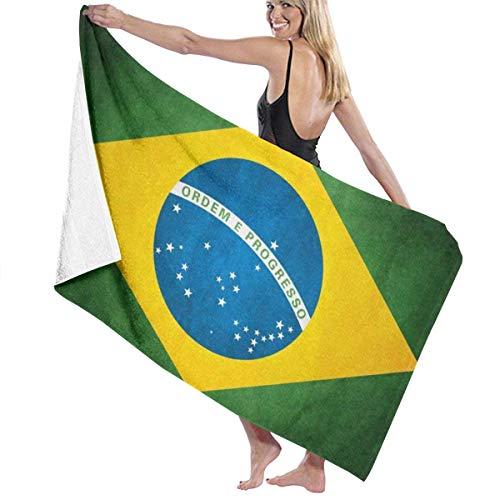 Bandera de Brasil Toalla de Playa de Microfibra Personalizada Toallas de Baño de Secado Rápido Piscina 100% Algodón Suave Absorbente para Playa, Piscina 80x130 cm