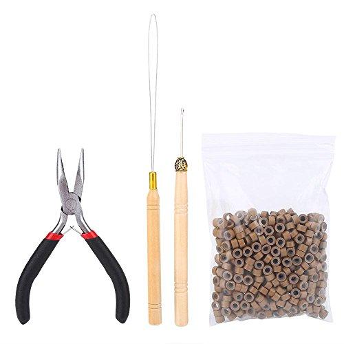 Nimoa Wig Connector Kit-Juego de herramientas para pelucas de cuatro piezas, alicates, pasadores de gancho y bucle, con 500 piezas de accesorios de extensión de cabello con anillo micro(Caqui)