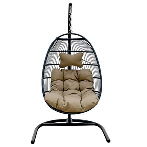 BMNN Swing Chair Patio Wicker Egg Hammock Chair With Hanging Kits, Rattan Wicker Swing Hanging Chair For Indoor Outdoor, Patio, Garden, Yard Hanging Egg Chair
