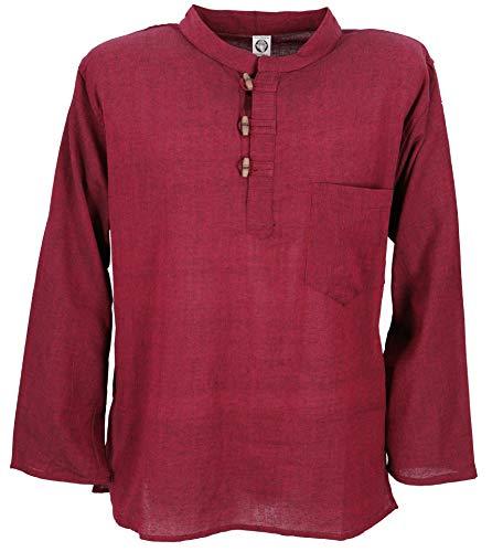 GURU SHOP Nepal Fischerhemd, Goa Hippie Hemd, Yogahemd, Freizeithemd, Herren, Weinrot, Baumwolle, Size:XL, Hemden Alternative Bekleidung