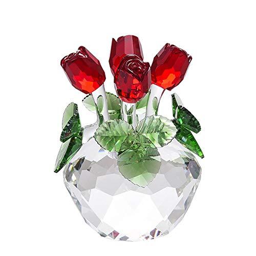 Kimmyer Flor de Rosa roja de Cristal, estatuilla de 4 Rosas realistas, decoración de Ramo con Caja de Regalo, para cumpleaños, día de San Valentín, Regalo del día de la Madre