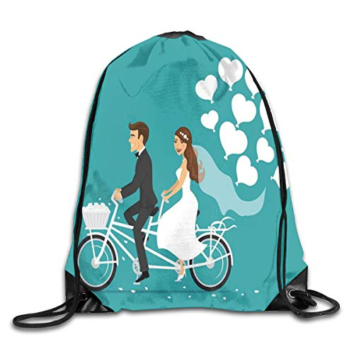 Drawstring Backpack Sports Gym Bag for Women Men, D4772 Man And Woman On A Tandem Bicycle With Heart Balloons Cartoon
