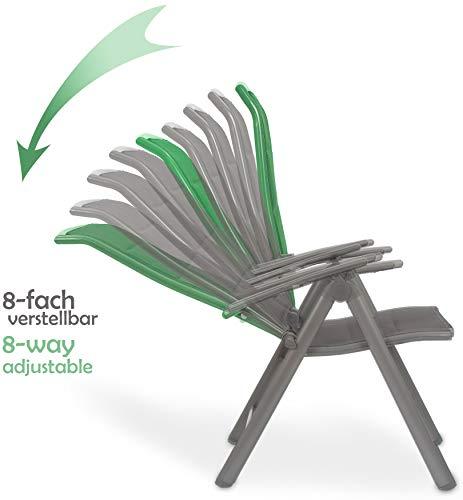 Brubaker Garten Sitzgruppe Milano - 1 Glastisch Klapptisch rund 70 cm Ø mit 2 Hochlehner Stühlen - Aluminium - Wetterfest - Silbergrau - 2