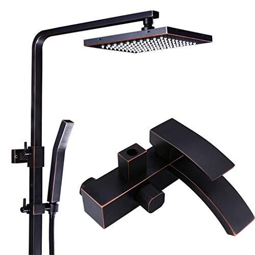CY Grifería de pared negro de ducha grifo de la ducha ducha de lluvia cuadrados grifería monomando grifos de baño negro cabeza de ducha ducha de pared grifo grifo de lluvia cabeza de instalación cuadr
