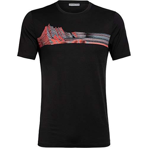 Icebreaker Tech Lite Mont Blanc Moiré T-Shirt Col Ras-du-Cou Homme, Black Modèle L 2020 T-Shirt Manches Courtes