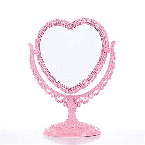 specchio trucco rosa Bluelover Specchio di Trucco 2 Laterale Comestic Girevole Stand Tavolo Plastico Comò Cuore Forma Specchi Strumento Cosmetico-Rosa