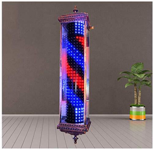 JUNWEN Lámpara de Poste de barbero Impermeable ROTANTE Rojo Negro Azul LED Tiras de Giro Peluquería Salón Luz de luz Lámpara de Pared Retro Retro Lámpara de Pared, Bronce 90cm, 35in