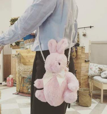 XTYZY Häschen-Beutel-Silk Bowknot-weiches Plüschtier-Puppe-einzelne Schulter-bewegliche Perlen-Kettenbeutel-Weihnachtsgeschenk