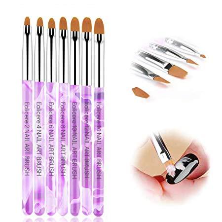Ealicere 7 Stück Nägel Pinselset,Nailart Pinsel für UV Gel & Acryl