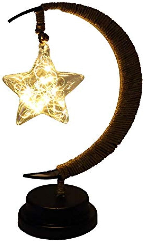 LED Hanfseil Schmiedeeisen Mond Nachtlicht Handmade Stars Rattan Ball Weihnachtsdekoration Eingebaute Batterie-Geburtstagsgeschenk Schlafzimmer Wohnzimmer Studie Kinderzimmer Nachttischlampe, B