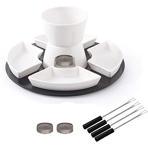 13PCS Ceramic Chocolate Fondue Set Tealight Candle Cheese Fondue Pot Set with 4 Dishes And Stainless Steel Forks for Home, Restaurant And Coffee