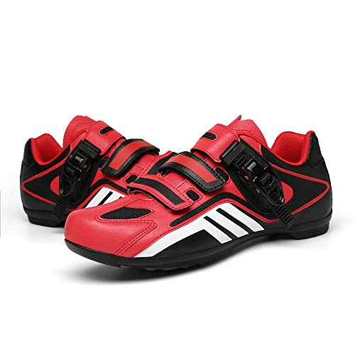 Zapatillas de Bicicleta Unisex con Cerradura, Zapatillas de Bicicleta de Montaña Transpirables, Zapatillas Deportivas Antideslizantes Resistentes Al Desgaste Profesionales(Size:40,Color:negro-rojo)