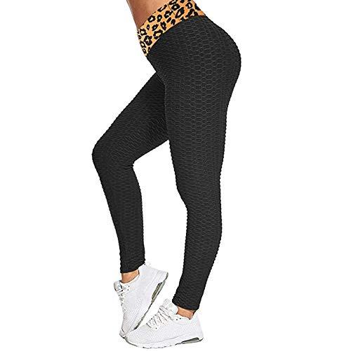 Women Honeycomb High Waist Anti Cellulite Waffle Gym LeggingsStretch Running Workout Bubble Textured Yoga PantsScrunch Butt ruched Tummy Control Butt Lift Running Sport Tights Black S