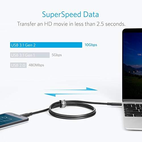 Anker Powerline II USB-C auf USB-C 3.1 Gen2 Kabel (90 cm) mit Power Delivery für Galaxy S8 S8+ S9 S10,iPad Pro 2020,das Neue MacBook,Google Pixel, Nexus 6P,Huawei Matebook und weitere Geräte