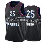 TFGVC 76ers 25# Simmons Men's Ballball Jersey, Nueva Temporada Transpirable y Chaleco de Baloncesto de Malla sin Mangas de Secado rápido, Camiseta de Baloncesto Deportivo Black-S
