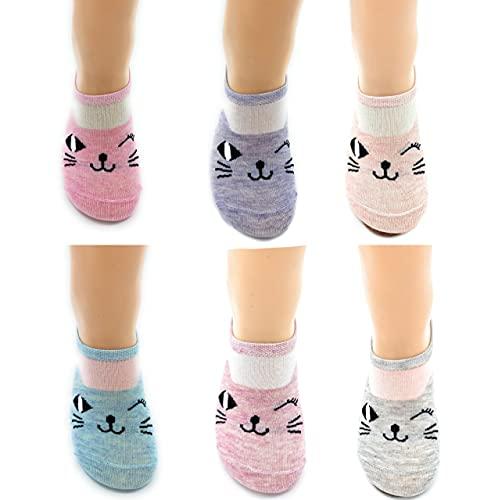 Hu Socks 6 Pares Calcetines bajos invisibles verano mujer Tobilleros gatitos divertidos chica Tallas 35- 40 (F)