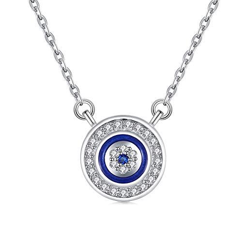 Collar redondo con colgante de ojo malvado de plata de ley 925 con circonita cúbica ajustable, cadena de 40,6 cm+extensor de 5 cm