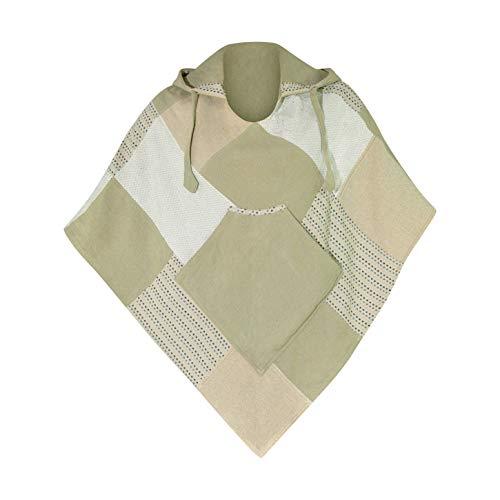 virblatt - Poncho Damen | 100% Baumwolle | Strick Ponchos & Capes Damen | Poncho Mädchen Poncho Damen Sommer Chai Dee S-M grün