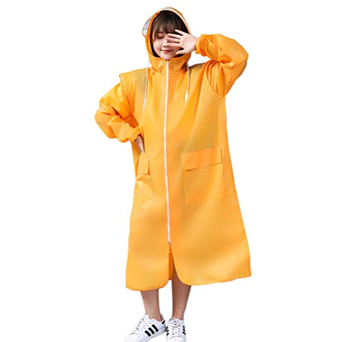 Abaodam Impermeable reutilizable a la moda espesar EVA lluvia poncho impermeable al aire libre impermeable impermeable impermeable al aire libre para escalada viajes adultos (tamaño XXL, amarillo)