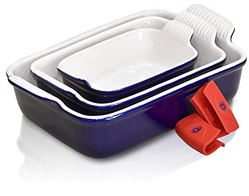 PERLLI Ceramic Baking Dish Pan Set, 3 Piece Nonstick Rectangular Bakeware Dishes Set, Classic Blue Lasagna Cookware Pans Casserole Dish, with Silicone Pot Handle Grips