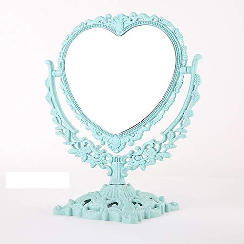 QXHELI spiegel voor kantoor, spiegels, prinsessen, eenvoudig, modieus, draagbaar, groot bed - spiegel op voor- en achterkant (kleur: blauw)