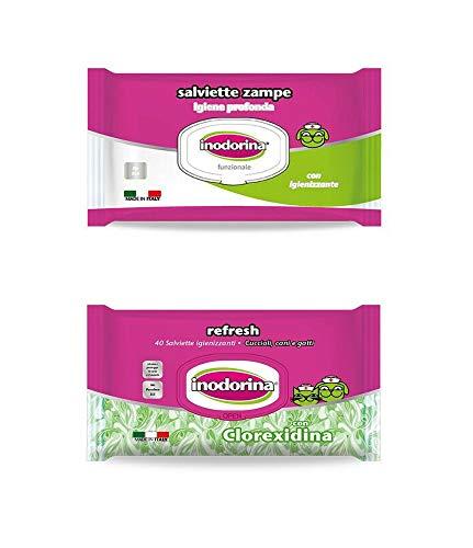 Inodorina 1 Pacco salviette specifica per Zampe 40 pz Piu 1 Pacco salviette 40 pz detergenti clorexidina disinfettanti per la Pulizia e Salute del Tuo Cane o Gatto