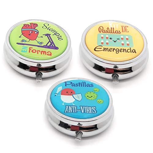MovilCom® Pastillero diario de bolsillo organizador 3 compartimentos, pastillero organizador pastillas toma diaria, caja medicamentos 3 unidades (mod.653304, 653305 y 653306)