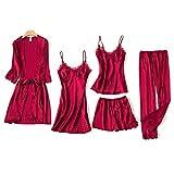 Blushy Silk 5 Piece Pajama Set, Girls Ladies Nightwear Silk Satin Pajamas Sleepwear Stain Lace Floral Nighties Robe Dressing Gown Nightdress with Chest Pad XL Red