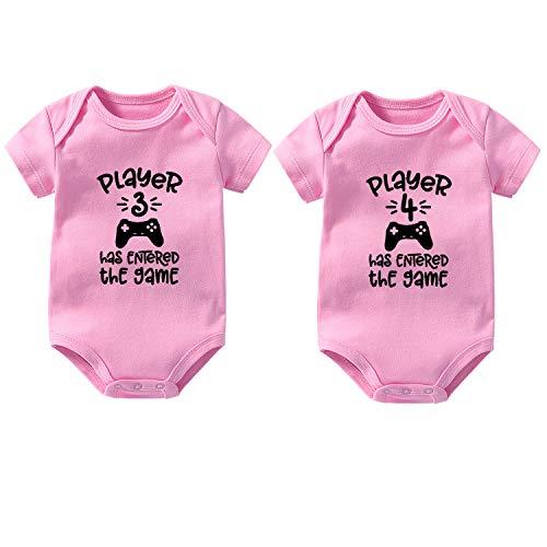 culbutomind Body para bebé de gemelos, 2 juegos, 3 jugadores, 4 regalos de nacimiento, divertido body para bebé, regalo de nacimiento, Rosa., 3-6 Meses