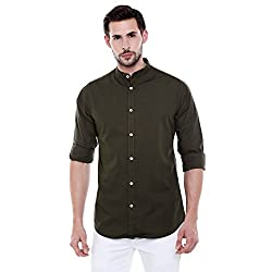 Dennis Lingo Mens Solid Chinese Collar Green Casual Shirt