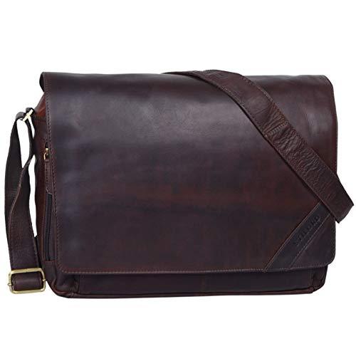 STILORD 'Nick' Umhängetasche Leder Herren Damen Unitasche 15.6 Zoll Laptoptasche Aktentasche Bürotasche Vintage Büffel-Leder, Farbe:Ebenholz - braun