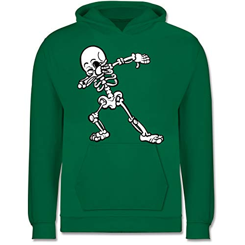 Shirtracer Halloween Kind - Dabbing Skelett - 152 (12/13 Jahre) - Grün - Pullover Kinder Dabbing - JH001K - Kinder Hoodie