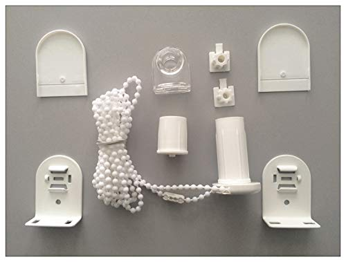 EFXIS - Juego de montaje para persianas con 25 mm de onda enrollable - con soporte de metal - Longitud de la cadena (longitud de mando): 130 cm, 180 cm o 220 cm - aquí: 130 cm - Color: blanco