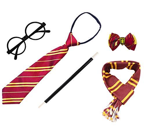 Gafas de Mago de Plástico, Marco de Gafas Redondo para una Fiesta de Harry Potter, Varita, Corbata, Bufanda y Pajarita(Gafas Mago Pack Completo 7)