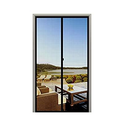 "MAGZO Screen Door Magnets 30 x 80, Durable Fiberglass Door Mesh with Full Frame Hook&Loop for Entry Door Fits Door Size up to 30""x80"" Max-Black"