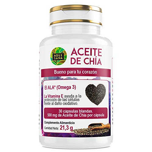 Olio di chia per la salute del nostro corpo - Integratore alimentare 100% capsula di chia naturale - Estratto di semi di Chia con omega 3, 6 e 9 e vitamina E - 30 capsule-AQUISANA