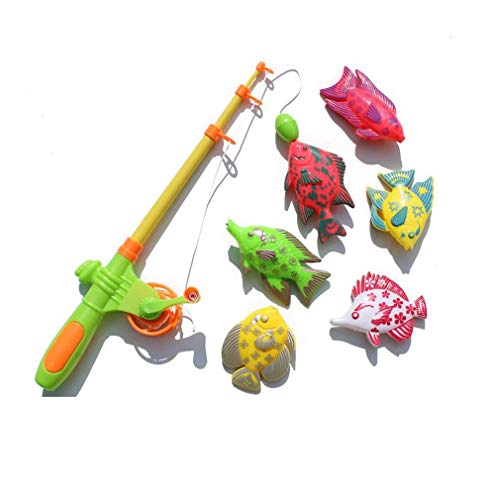 Yeliu Creative 7 Pieces Magnetic Fishing Toy Set Fishing Learning Education Play Set Multicolor