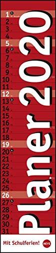 Planer long, rot. Wandkalender 2020. Monatskalendarium. Spiralbindung. Format 11 x 49 cm