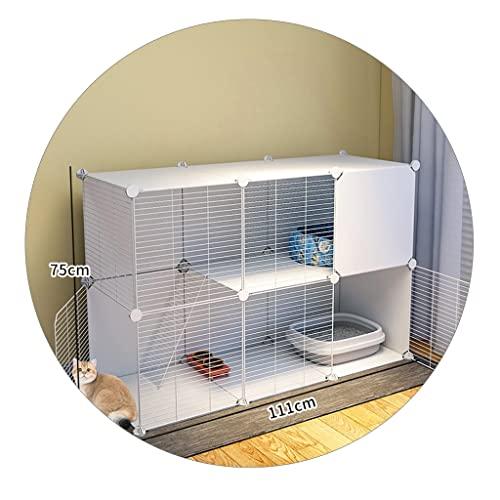 Villa para Mascotas Criadero Interior con Inodoro Jaula para Mascotas Separada Gatito Jaula para Mascotas Fácil De Limpiar Villa para Mascotas Interior Pequeña (Color : Blanco, Size : 111 * 37 * 75m)