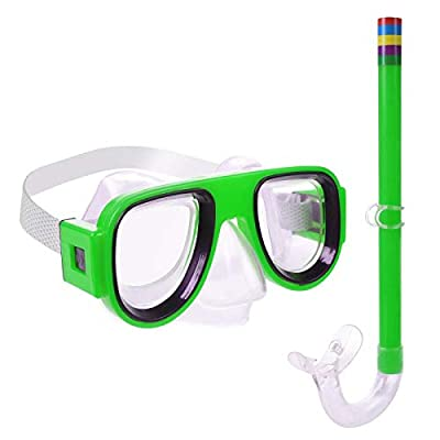Greenlf Kids Snorkel Set, Children Dry Top Snorkeling Mask, Swimming Goggles with Snorkels Anti Leak Diving Gear Packages for Age 4 Plus,Youth Junior Boys Girls (Green)